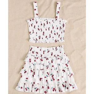 Cherry Print Shirred Cami Top & Tiered Skirt Set